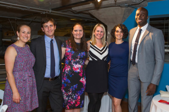 SAN FRANCISCO, CALIFORNIA - May 6 - Kathy Skoog, Andrew, McCollum, Gretchen Sisson, Allison Fox and Kristi Ebong Francis Ebong attend 2017 Our House Gala on May 6th 2017 at Homeless Prenatal Program in San Francisco, California (Photo - Jana Asenbrennerova for Drew Altizer Photography)